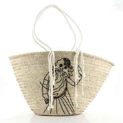 Celine Classic Panier Bucket Bag Limited Edition Embroidered Woven Straw Large