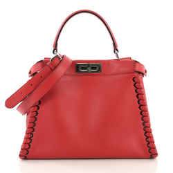 Fendi Peekaboo Handbag Whipstitch Leather Regular