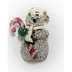 New St John Vintage 22kgp Pin Brooch Christmas Snow Man White Candy Collectible