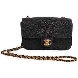 Rare Chanel Galuchat Stingray Blue Mini Flap