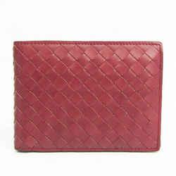 Bottega Veneta Intrecciato 113112 Unisex Leather Wallet (bi-fold) Red B BF523993