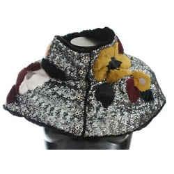 Dolce & Gabbana Silver Sequined Floral Weasel Fur Shoulder Scarf Women's Wrap