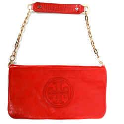 Tory Burch - Medium Red Leather Logo Bag - Flap Shoulder Chain Strap