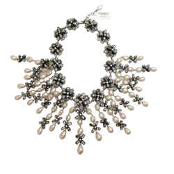 Chanel Pearl Drop with Crystal Embellishments Necklace