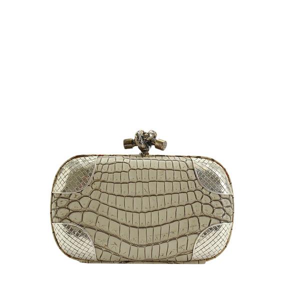 Rdc10041 Authentic Bottega Veneta Crocodile & Silver Knot Clutch