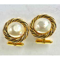 Chanel Gold Pearl Cufflink Charms 12c614