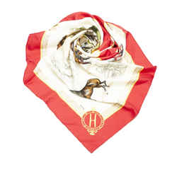 Red Hermes Les Haras Nationaux Silk Scarf