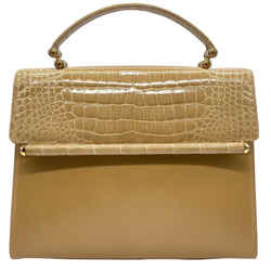 Judith Leiber Top Handle Tan Alligator Skin Leather Satchel