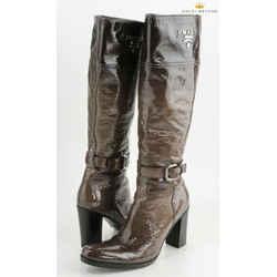 Prada Knee High Shiny Leather Boots Size 36