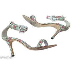 Manolo Blahnik Leather Brocade Metallic Crystal Open Toe Sandals Heels Sz 39.5