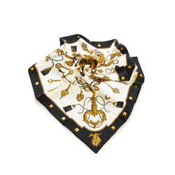 Black Hermes Les Cles Silk Scarf
