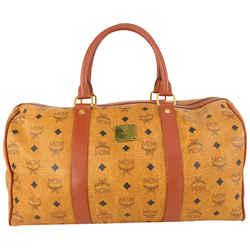 MCM Cognac Monogram Visetos Boston Duffle Bag 917mcm28
