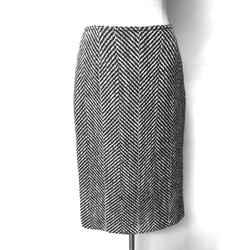 PIAZZA SEMPIONE Black & White Large Chevron Wool Pencil Skirt