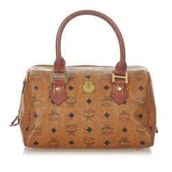 Vintage Authentic MCM Brown Calf Leather Visetos Boston Bag Germany w/ Dust Bag