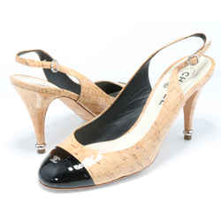 Chanel Coated Cork & Patent Leather Slingback Pumps
