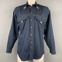 Vintage VERSACE JEANS COUTURE Size M Navy Studded Cotton Cowboy Oversized Long Sleeve Shirt