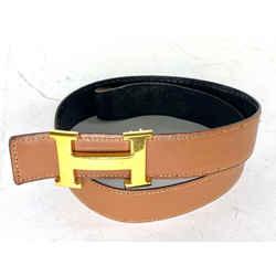 Hermes 32mm Reversible H Logo Belt Kit Black Gold 4her68