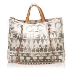 Vintage Authentic Chanel White Canvas Fabric Iliad Shopper Satchel France