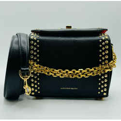 $2090 Alexander Mcqueen Black Leather Gold Studded Box 19 Bag 501105 1accm 1000