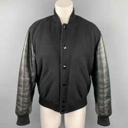 GIVENCHY Size 6 / FR 38  Black Wool Lamb Skin Bomber Jacket