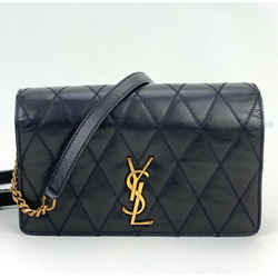 Yves Saint Laurent Angie Crossbody Clutch Bag Black Quilted Lambskin 568906 B240