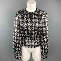 ESCADA Size 4 Black & White Metallic Houndstooth Silk Collarless Zip Blouse