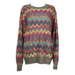 MISSONI Men's Circa 1990s Multicolor Zig Zag  Sweater