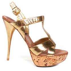 Miu Miu - Leather Cork Pumps - Metallic Gold Strap High Heels - Us 10 - 40