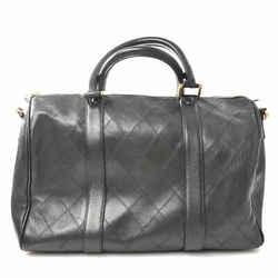 Auth Chanel Chanel Leather Bicolore 2way Boston Bag Black