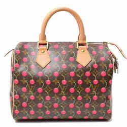 Auth Louis Vuitton Monogram Cherry Speedy 25 Handbag Leather Bag