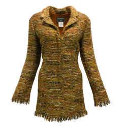 Chanel Bronze Multicolored Tweed Wool Blend Woven Coat