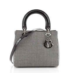 Vintage Lady Dior Bag Houndstooth Canvas Medium