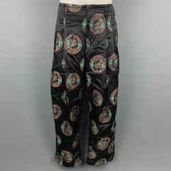 COMME des GARCONS HOMME PLUS Size S Black & Gold Jacquard Rayon / Polyester Wide Leg Dress Pants