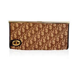 Christian Dior Vintage Brown Logo Tapestry Canvas Clutch Purse