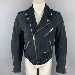 BURBERRY PRORSUM Size 38 Navy Nubuck Suede Biker Jacket