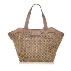 Vintage Authentic Loewe Brown Canvas Fabric Anagram Tote Bag Spain