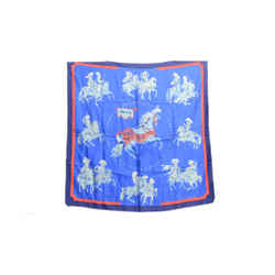 Authentic Hermes 100% Silk Scarf Carrousel Blue Vauzelles Vintage 90cm Carre