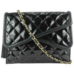 Chanel Black Patent Fringe Tassel Flap Bag 524cas610