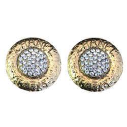 Chanel Round Rhinestone Monogram Earrings