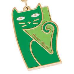 Miu Miu Trick Metallo Verde Green Cat Keychain Charm 5tm069