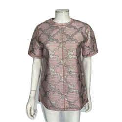 Prada Pink And Silver Gilded Brocade Short Sleeve Metallic Top Sz 6