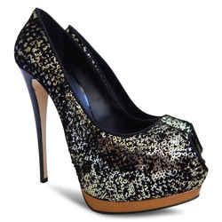 New $866 Giuseppe Zanotti Sharon Gold Sequin Peep Toe Pumps - Black - Size 38