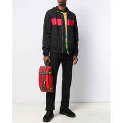 NEW $925 VERSACE Red BLACK BONDAGE MEDUSA PRINT Nylon Large CROSSBODY & BELT BAG