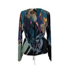 Salvatore Ferragamo Multicolor Silk Printed Wrap Blouse Size 44 IT