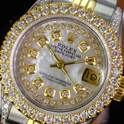 Rolex Lady Datejust 69173 26mm White MOP Diamond Dial Lugs Diamond Bezel