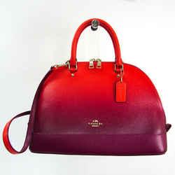 Coach 53349 Women's Leather Handbag,Shoulder Bag Orange,Purple BF522608