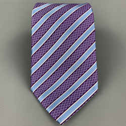 Ermenegildo Zegna Purple & Blue Diagonal Stripe Silk Neck Tie