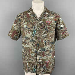 LANVIN Size L Grey & Brown Print Viscose Camp Short Sleeve Shirt