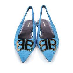 Vintage Authentic Balenciaga Blue BB Slingback Velour Flats Italy