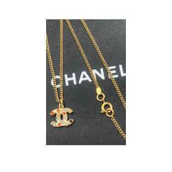 Chanel Multicolor Coco CC Logo Mark Crystal Pendant Necklace 16L